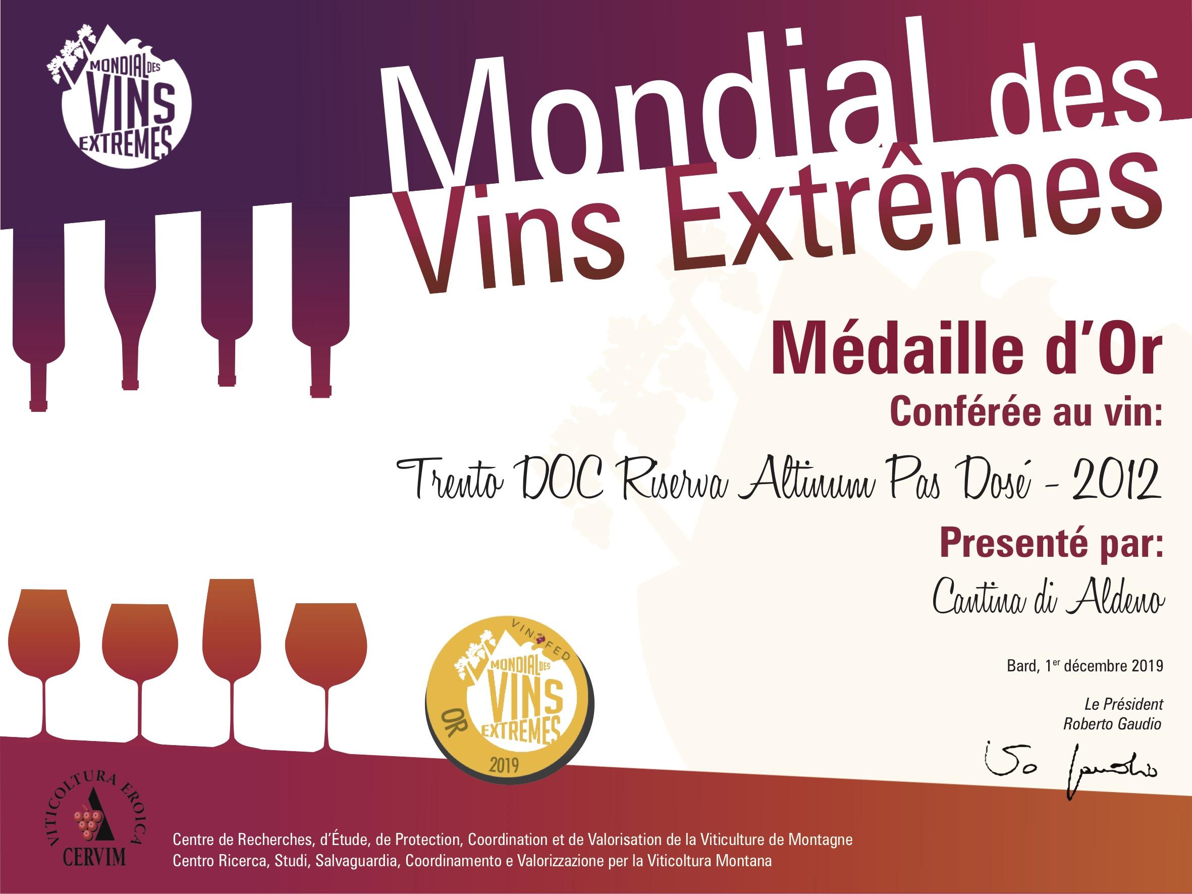 Mondial Des Vins Extremes – Quattro Medaglie D'Oro Per I Vini Della Cantina Aldeno