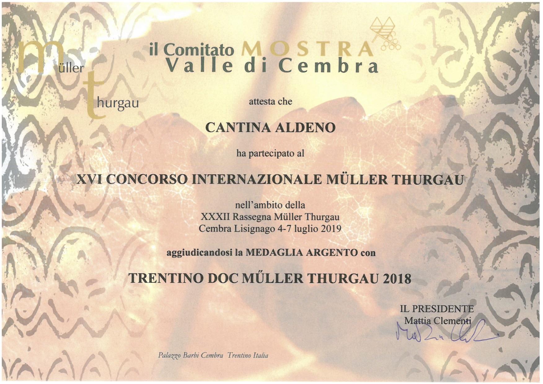 Müller Thurgau Medaglia D'Argento Per Cantina Aldeno