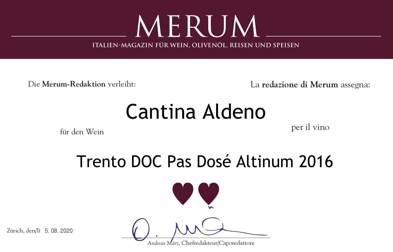 """La Prestigiosa Rivista """"Merum"""" Premia I Prodotti Di Cantina Aldeno"""